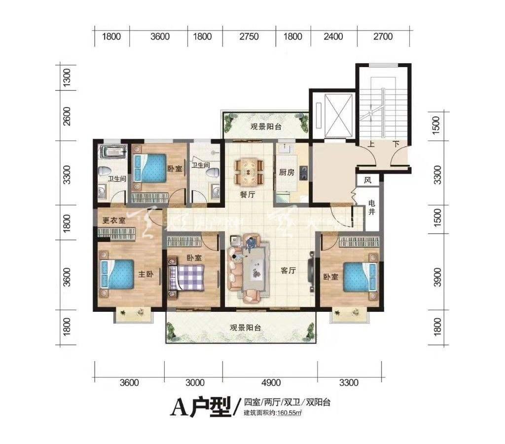 古滇未来城A户型4室2厅2卫1厨2阳台