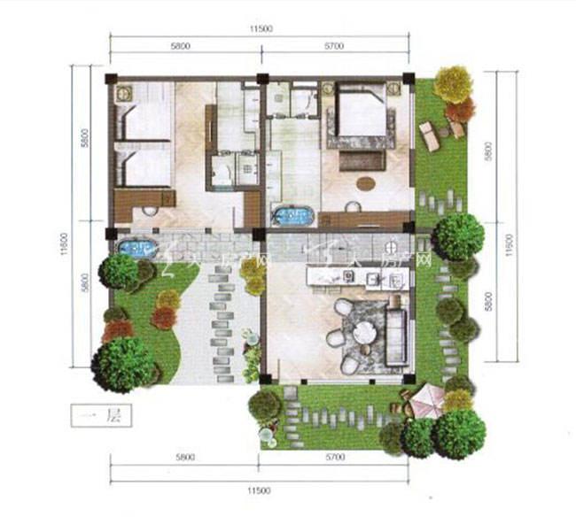 束河秘境4室2厅 建筑面积:174㎡