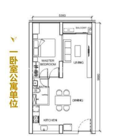 The peak一卧室公寓单元.jpg