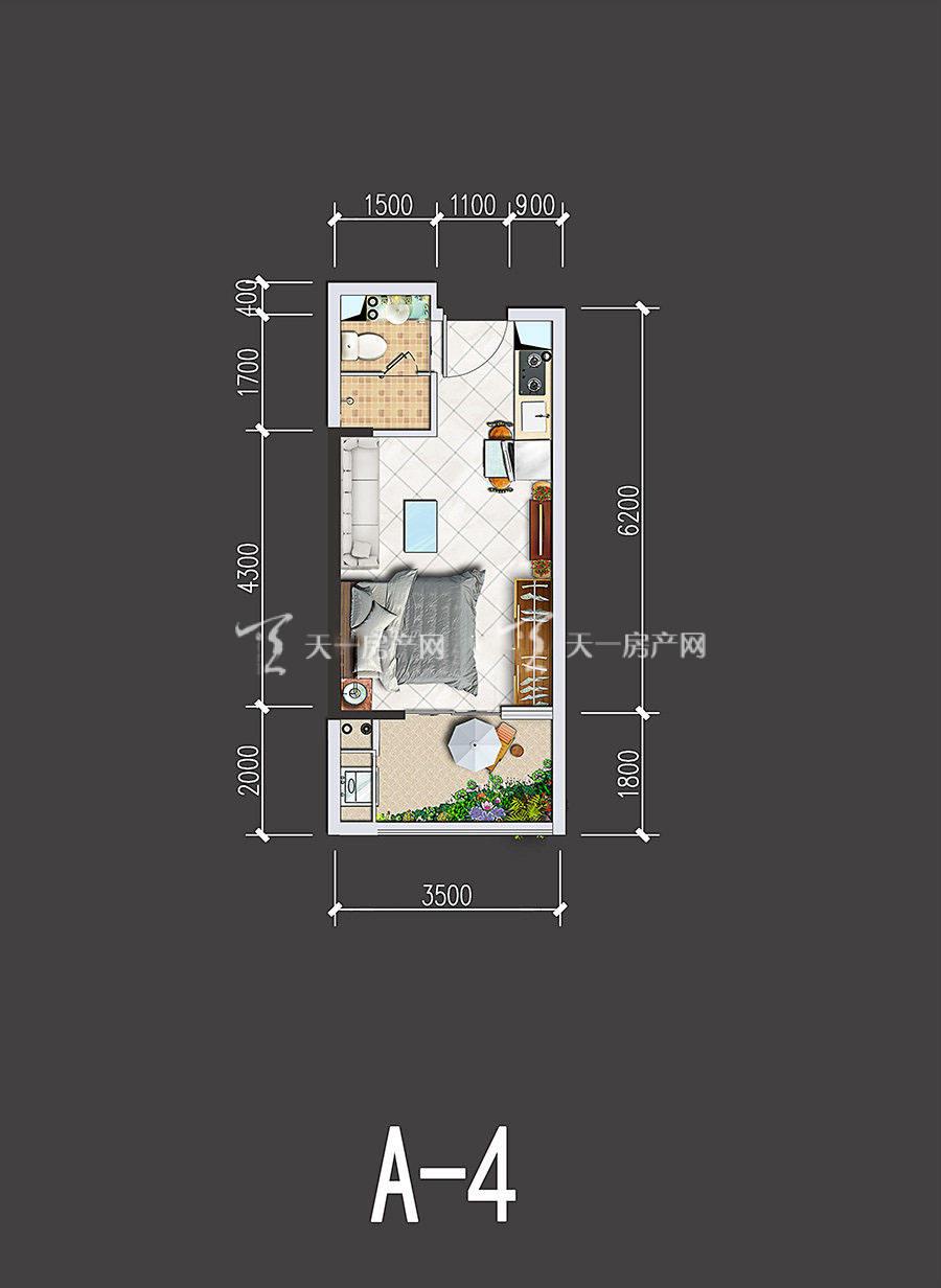 星汇海景湾-Xinghui Seaview Bay1室0厅1卫1厨建筑面积32-36㎡单间