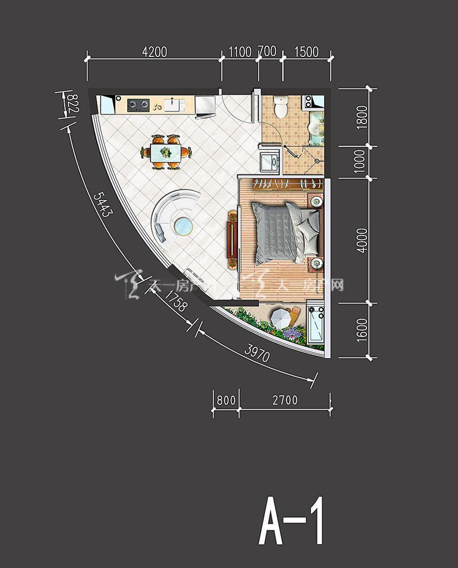 星汇海景湾-Xinghui Seaview Bay1室1厅1厨1卫建筑面积53㎡