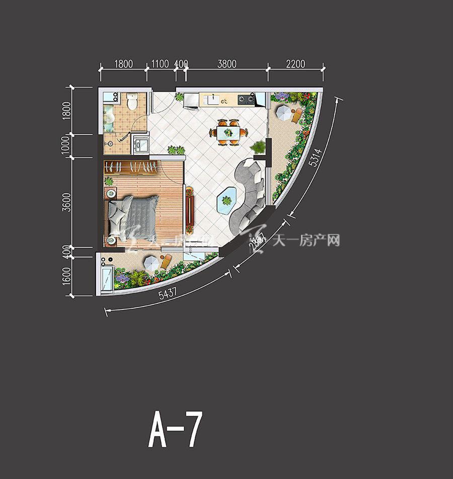 星汇海景湾-Xinghui Seaview Bay1室1厅1厨1卫建筑面积64-66㎡