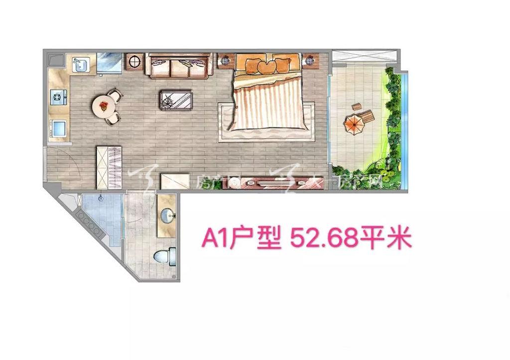 海棠铂樾A1户型建筑面积52.68㎡