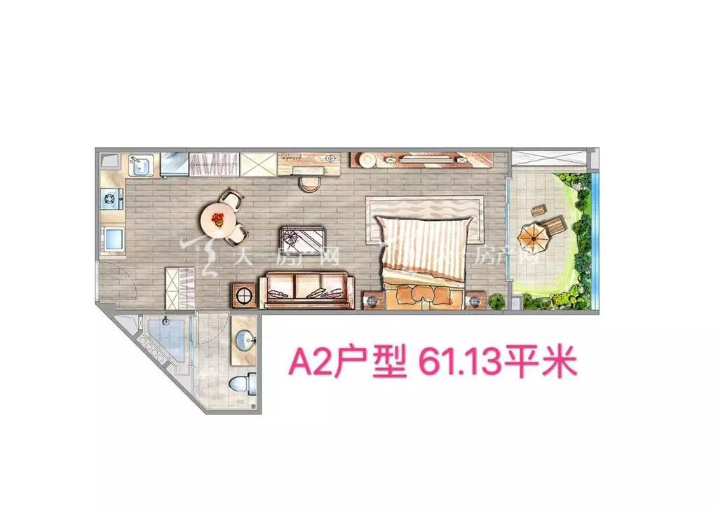海棠铂樾A2户型建筑面积61.13㎡