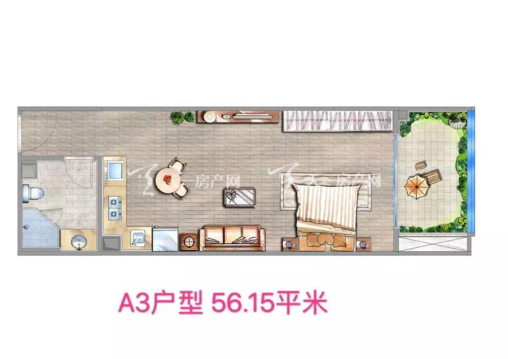 海棠铂樾A3户型建筑面积56.15㎡