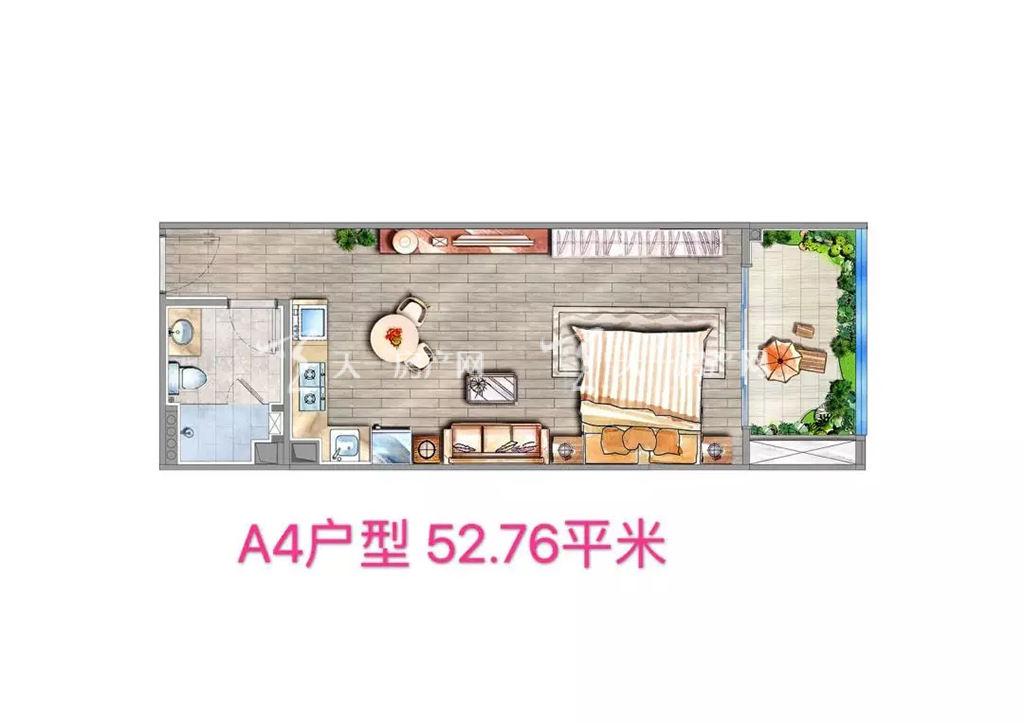 海棠铂樾A4户型建筑面积52.76㎡