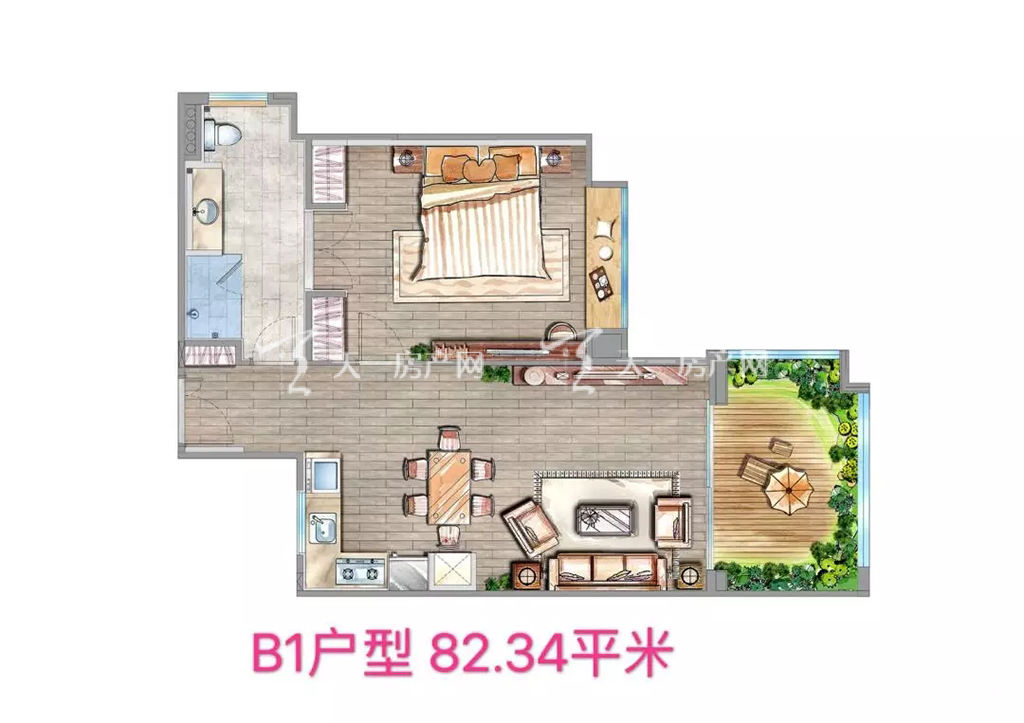 海棠铂樾B1户型建筑面积82.34㎡
