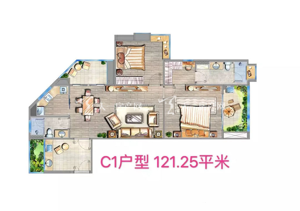 海棠铂樾C1户型建筑面积121.25㎡