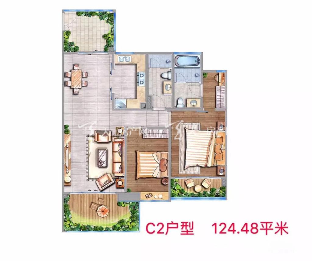 海棠铂樾C2户型建筑面积124.48㎡