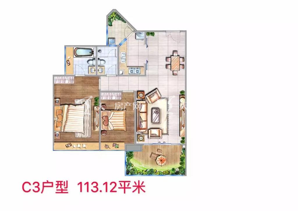 海棠铂樾C3户型建筑面积113.12㎡