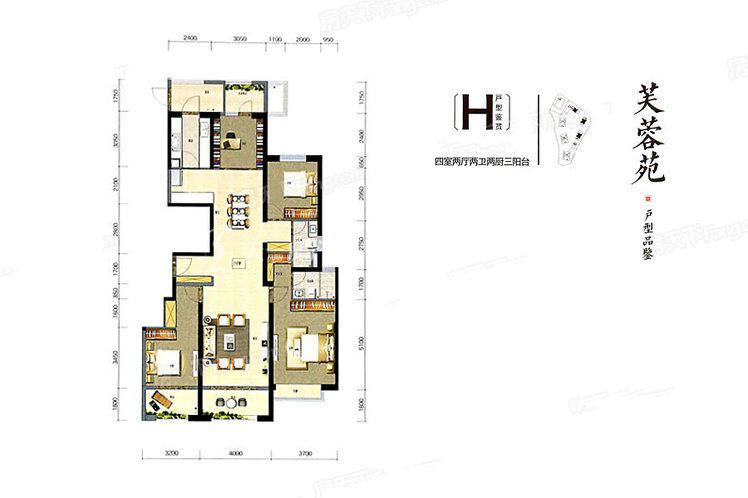 俊发城俊发城芙蓉苑H户型4室2厅2卫1厨167.00㎡