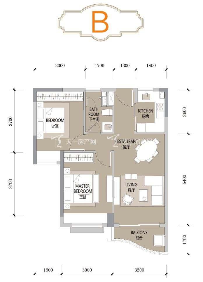 合景汀澜海岸B户型 2室2厅1卫1厨 建筑面积70㎡
