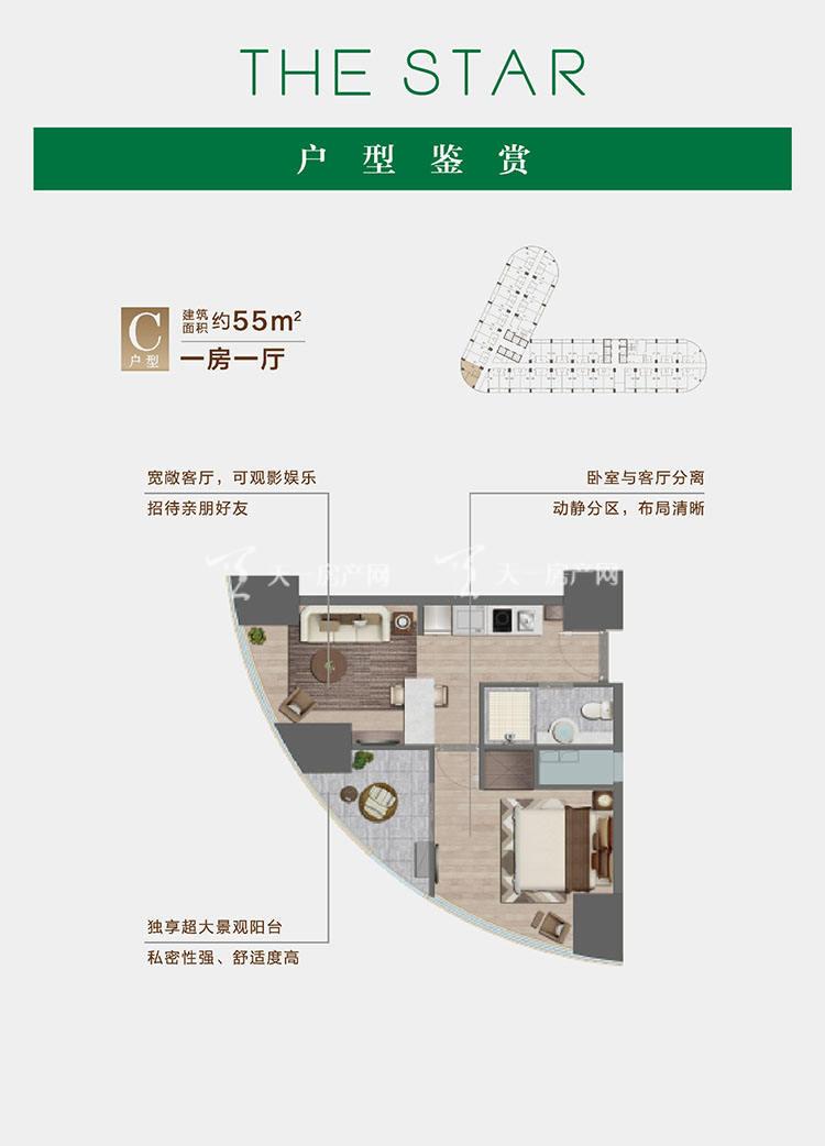 绿城西港之星C户型/1室1厅/建筑面积:约55㎡