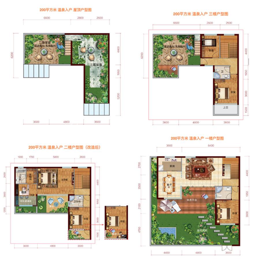 东方玫瑰谷200㎡户型:5室1厅4卫1厨 建筑面积:200㎡