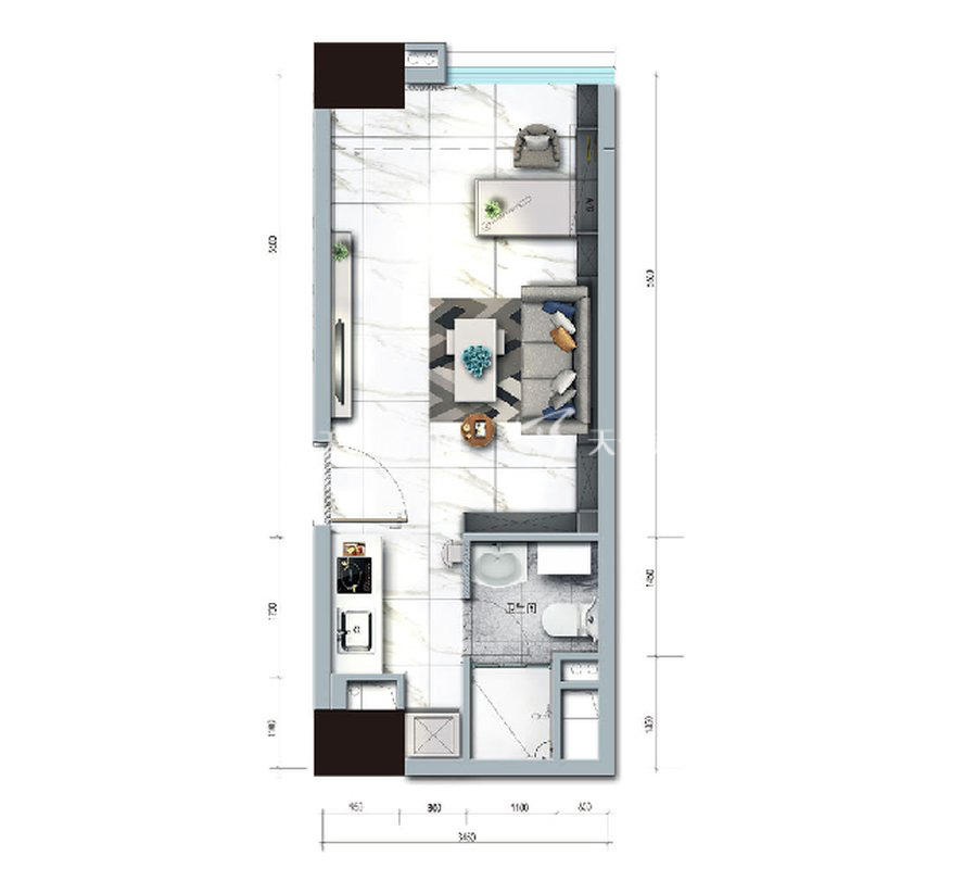 碧桂园臻湾国际1室户型:1室1厅1卫 建筑面积约:40㎡