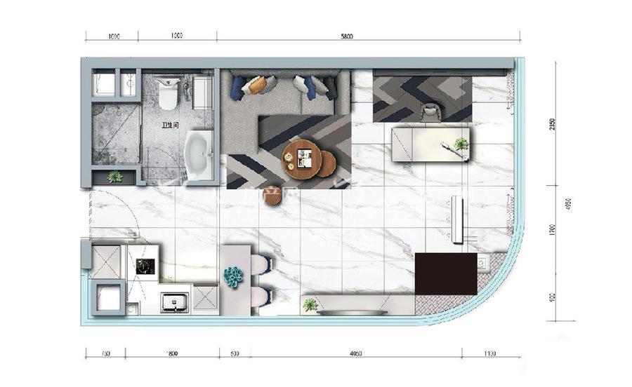 碧桂园臻湾国际1室户型:1室1厅1卫 建筑面积约:57㎡