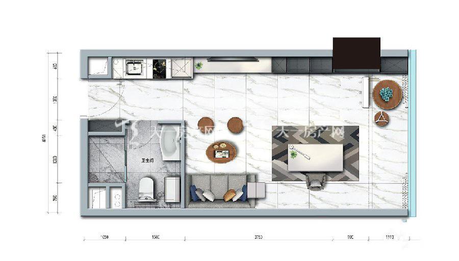 碧桂园臻湾国际1室户型:1室1厅1卫 建筑面积约:48㎡