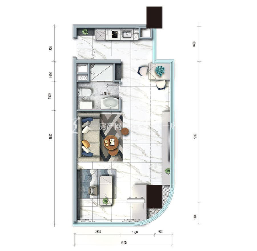 碧桂园臻湾国际1室户型:1室1厅1卫 建筑面积约:67㎡