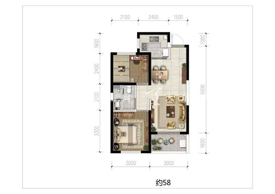 榕林时光2室1厅1卫/建筑面积:58㎡