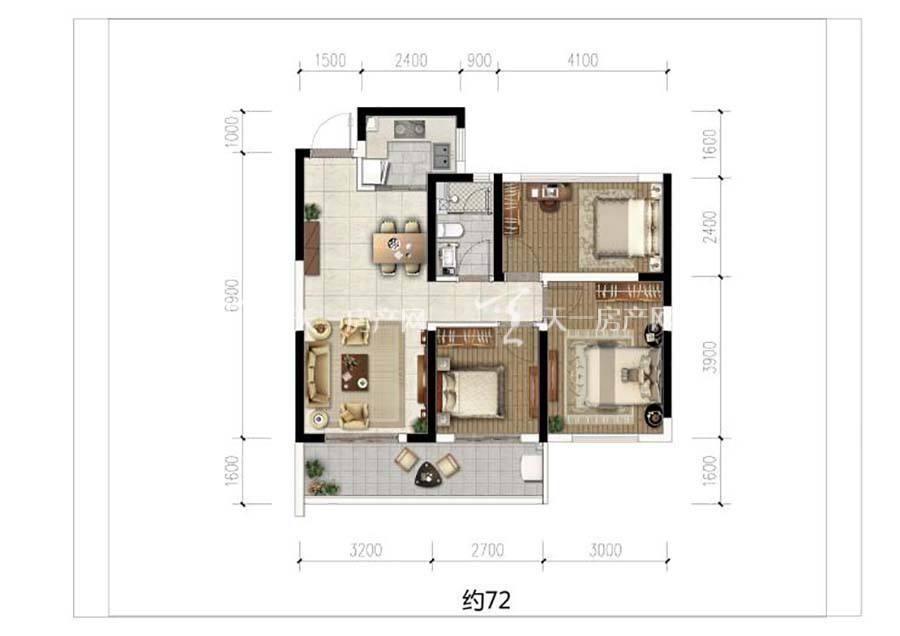 榕林时光三室一卫/建筑面积:约72㎡