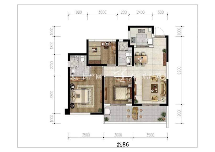 榕林时光三室两卫/建筑面积:约86㎡