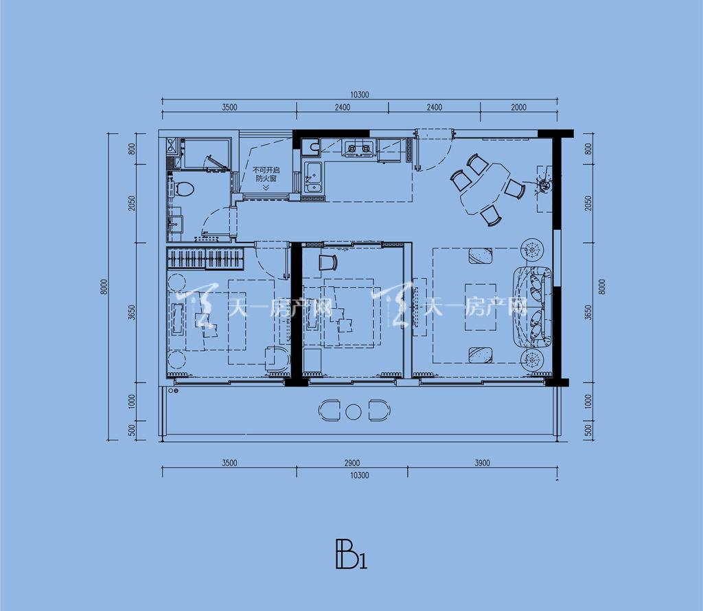 三亚璞海B&B1户型建筑面积89㎡两室两厅一卫.jpg