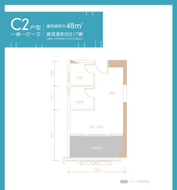 方达成大厦c2户型一房一厅一卫建筑面积48㎡.jpg