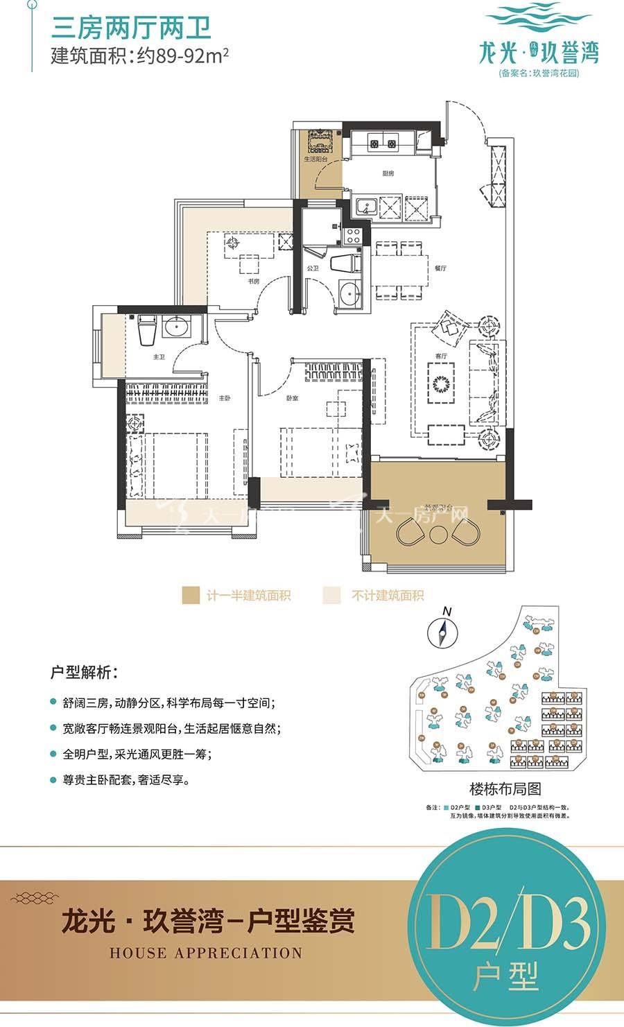 龙光玖誉湾D2/D3户型/三房两厅两卫/建筑面积:约89-92m²