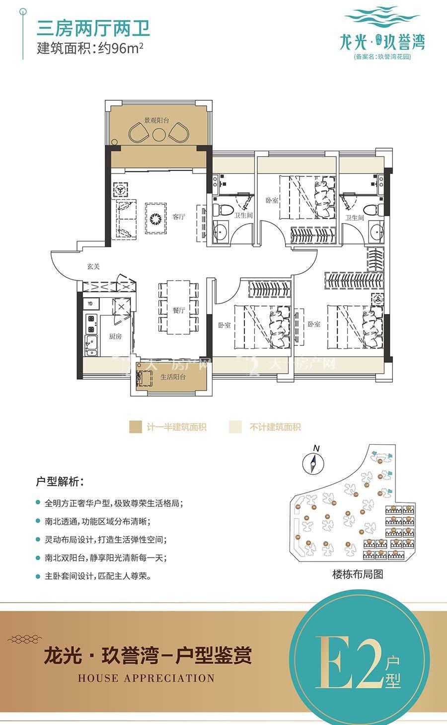 龙光玖誉湾E2户型/三房两厅两卫/建筑面积:约96m²