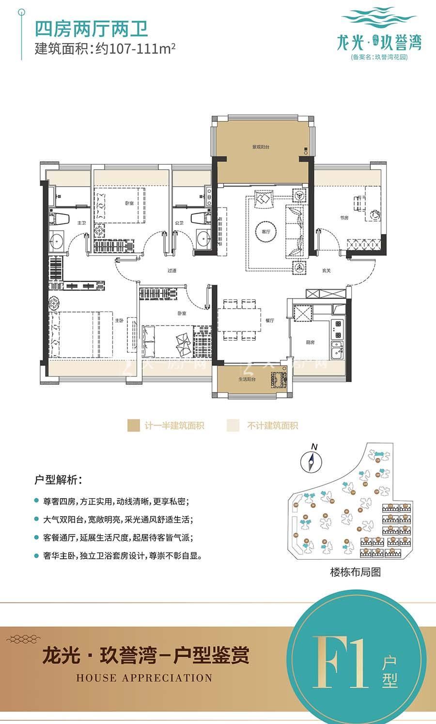 龙光玖誉湾F1户型/四房两厅两卫/建筑面积:约107-111m²
