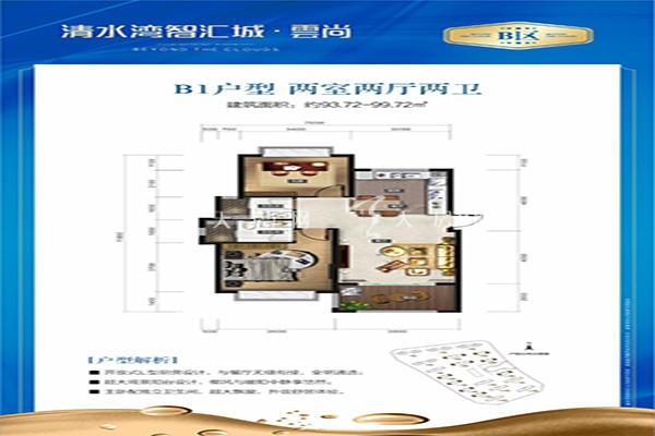 智汇城B1户型 两室两厅两卫 99㎡.jpg