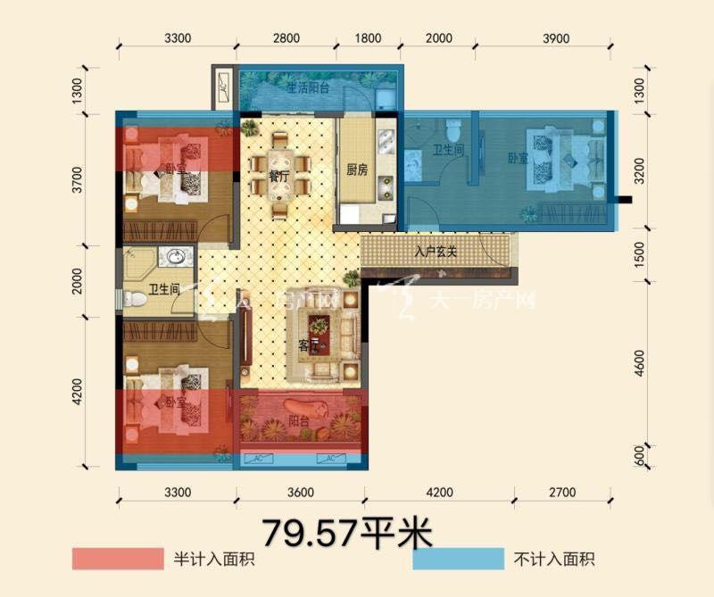 曼锦园户型:3室2厅2卫1厨 建筑面积79.57㎡