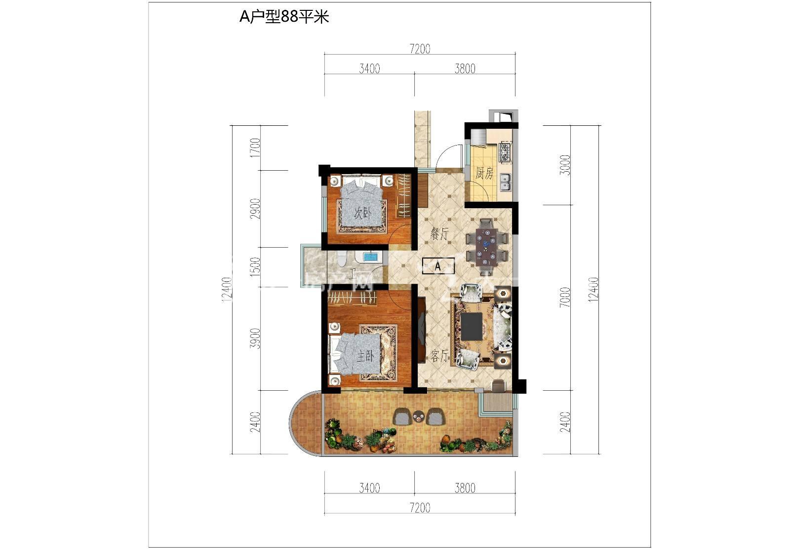 古滇名城1号楼A户型2房建筑面积88平米.jpg