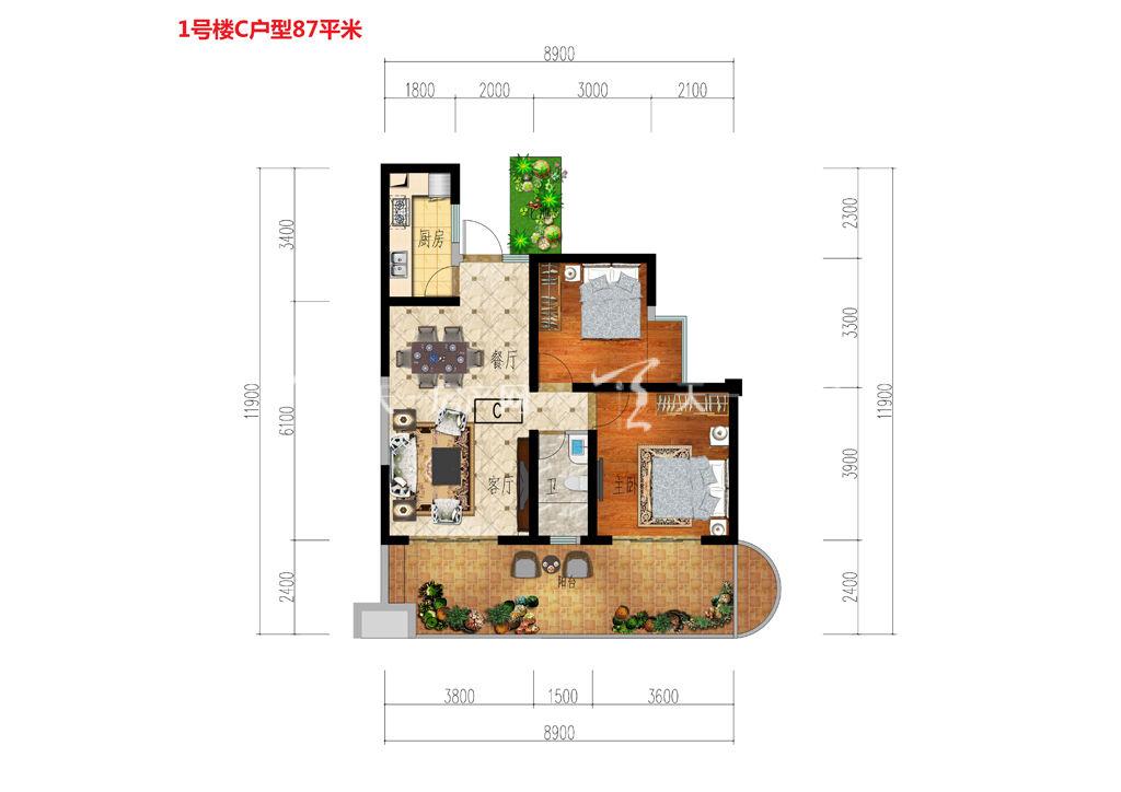 古滇名城1号楼C户型2房建筑面积87平米.jpg