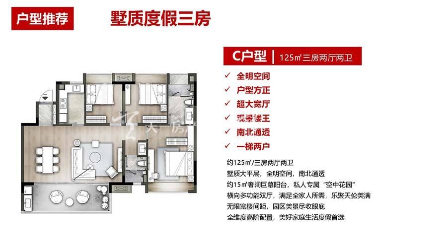 海泉湾时光序C1户型/3室2厅2卫/建筑面积:125m²