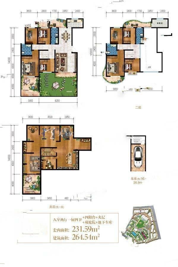 曼城E3户型/8室2厅4卫/建筑面积:约265m²