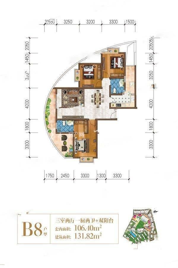 曼城B8-01户型/3室2厅2卫/建筑面积:约132m²