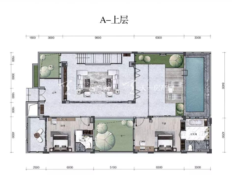海棠华著【A户型】三房两厅五卫/建面84.56㎡上层