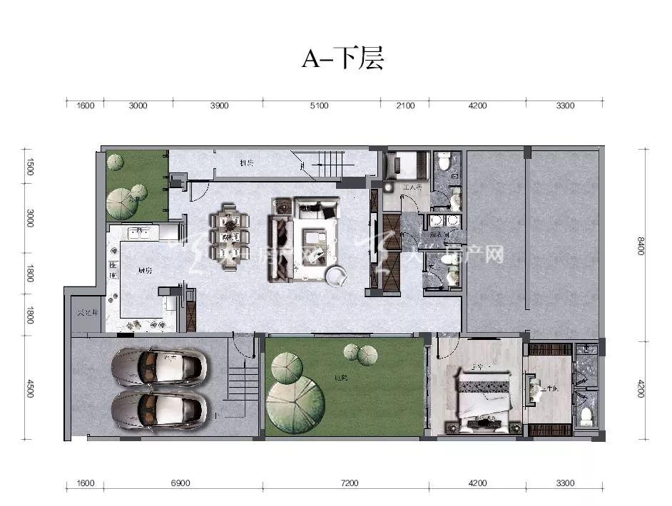 海棠华著【A户型】三房两厅五卫/建面84.56㎡下层