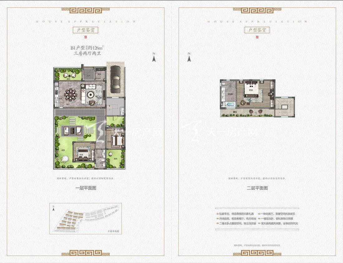中海神州半岛九玺院户型-别墅B1户型:3室2厅2卫1厨 建筑面积126㎡
