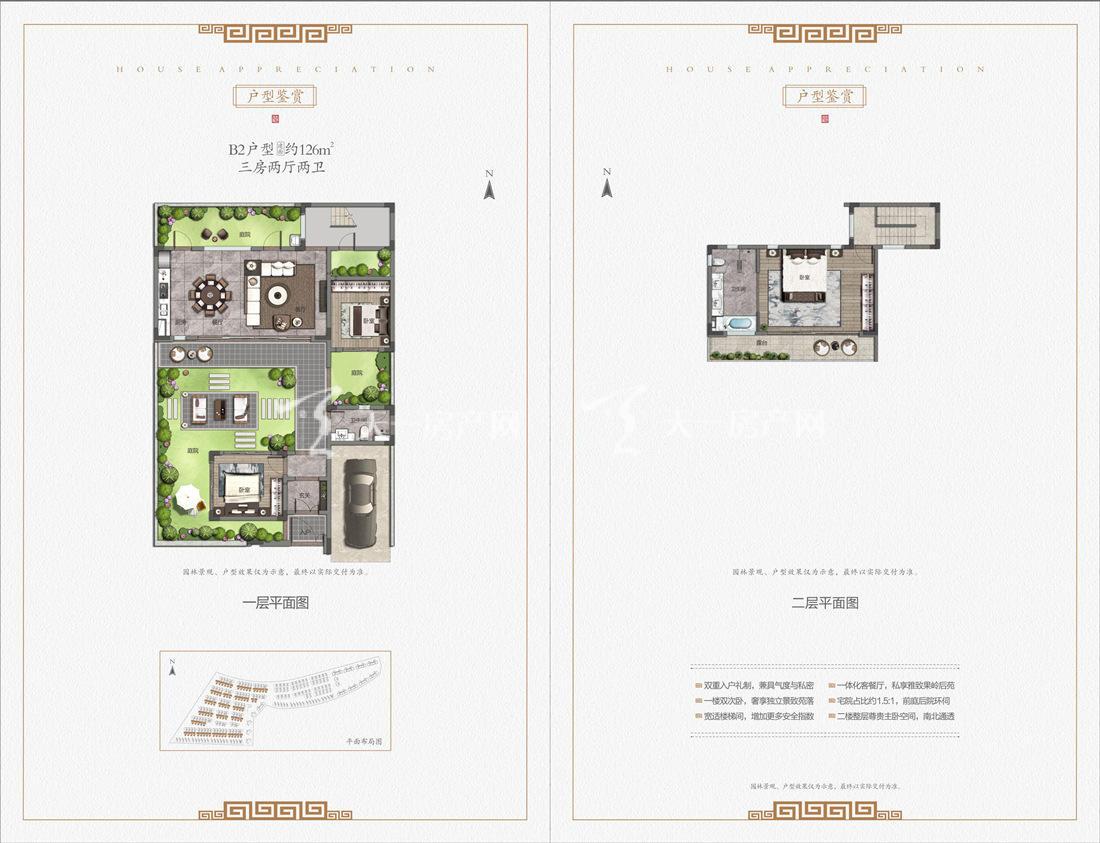 中海神州半岛九玺院户型-别墅B2户型:3室2厅2卫1厨 建筑面积126㎡