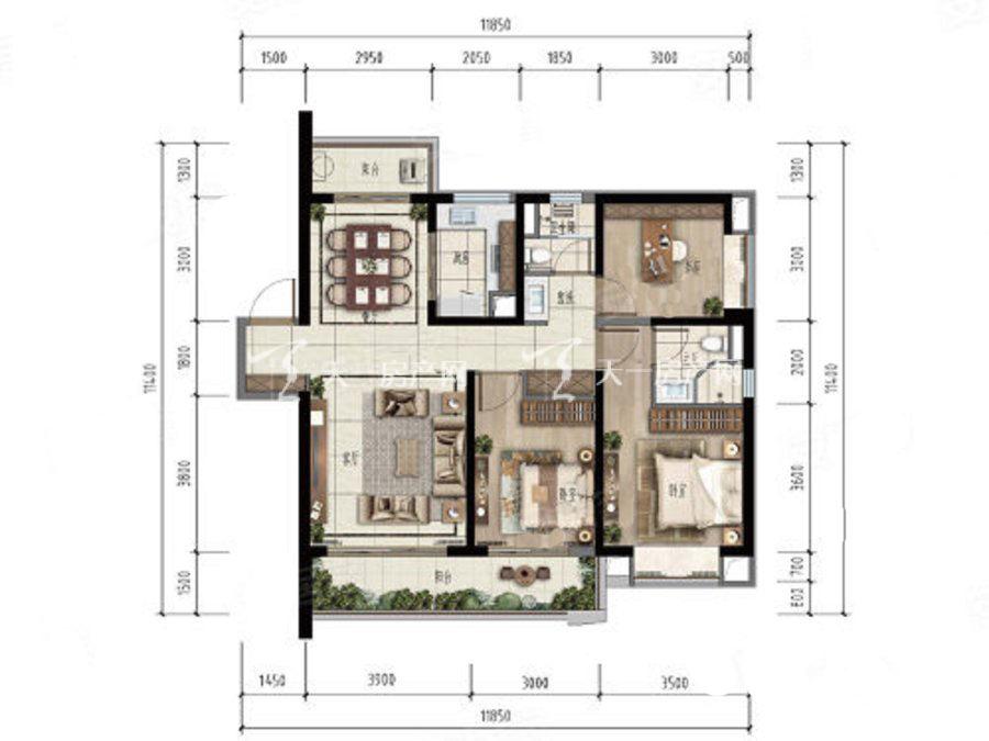 融创万达文化旅游城3室2厅2卫 建筑面积128m²