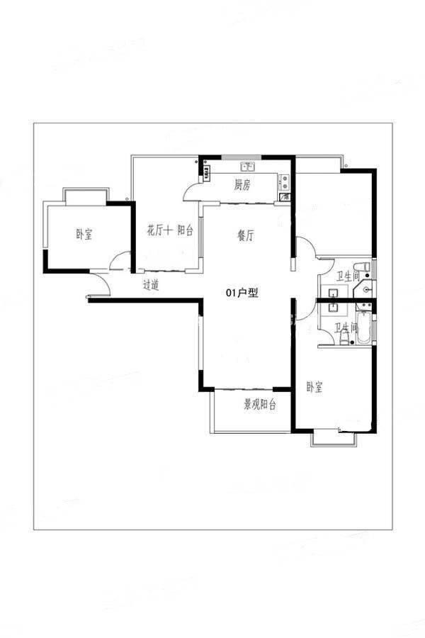 古茶墅假日庄园01户型3室2厅2卫建筑面积:约135平米
