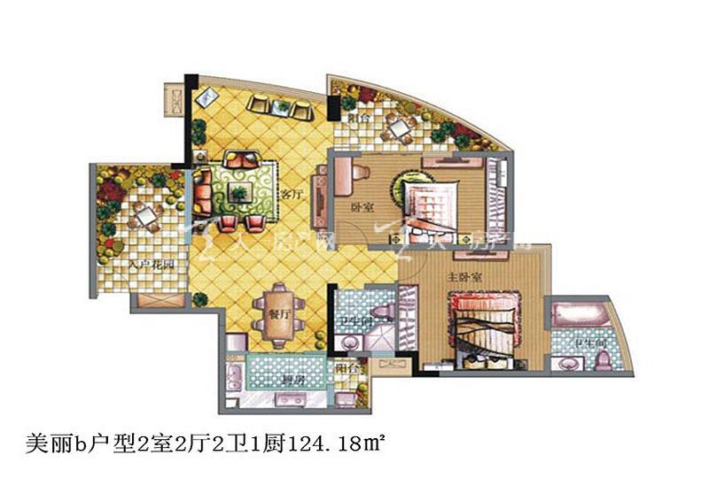 鲁能三亚湾 鲁能三亚湾 户型图 美丽b户型2室2厅2卫1厨124.18