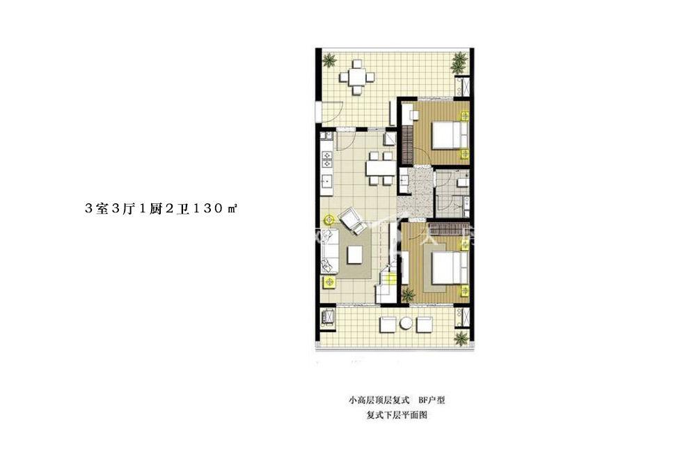 智汇城 3室3厅1厨2卫130㎡下层平面图.jpg