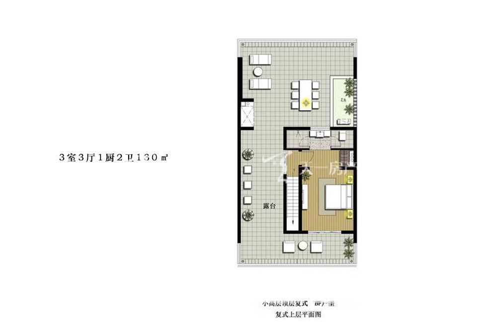 智汇城 3室3厅1厨2卫130㎡上层平面图.jpg