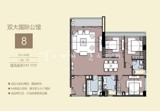 双大国际公馆 8户型22-24层-3房2厅-141.17㎡.jpg