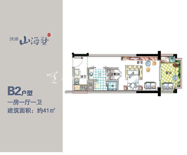鸿坤山海墅B2户型1房1厅1厨1卫41㎡