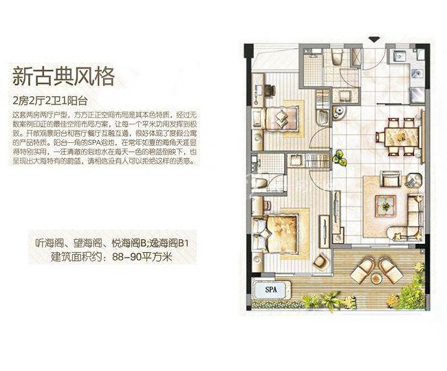 三亚金中海蓝钻 1#2#3#B户型、4#B1户型 2房2厅2卫 90.00