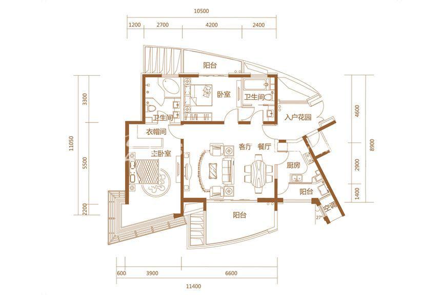 恒大海上帝景悦澜高层1、2、5、6#D户型2室2厅1厨2卫148.96㎡